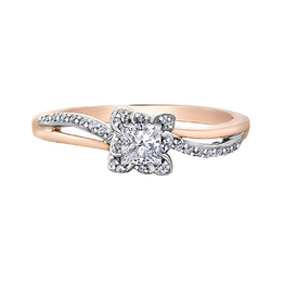 Maple Leaf Diamonds Maple Leaf Diamond 18K Rose Gold and Palladium White Gold Canadian Diamond Engagement Ring