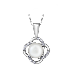 White Gold (0.06ct) Pearl and Diamond Pendant