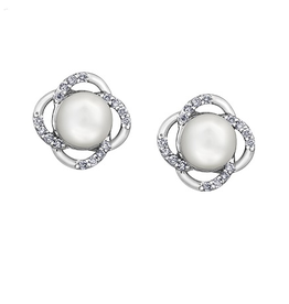 White Gold (0.06ct) Pearl and Diamond Earrings