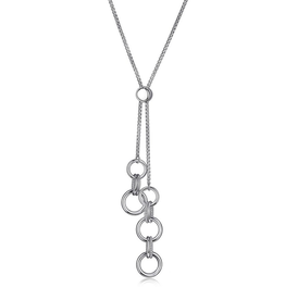 Elle Elle Essence Sterling Silver Rhodium Plated Double Circle Link Bolo Necklace