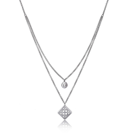 Elle Elle Secret Garden Sterling Silver Double Layered Basket Weave Necklace