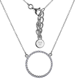 Elle Elle Rodeo Drive Sterling Silver Rhodium Plated CZ Circle Necklace