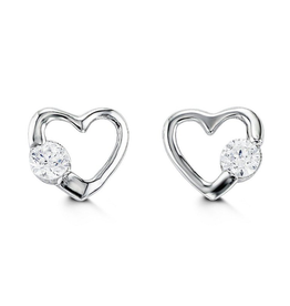 White Gold Heart Cubic Zirconia Baby Earrings