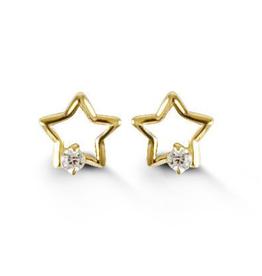 14K Yellow Gold Baby Star CZ Earrings