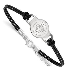 NHL Licensed NHL Licensed Winnipeg Jets Leather & Sterling Silver Bracelet