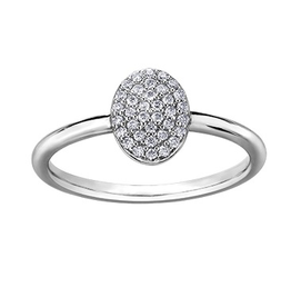Oval Shaped (0.15ct) Pavee Diamond White Gold Ring
