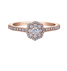 Maple Leaf Diamonds 14K Rose Gold Maple Leaf (0.40ct) Canadian Diamond Double Halo Pink Passion Engagement Ring