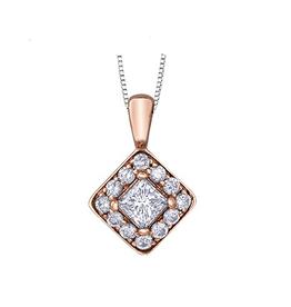 Maple Leaf Diamonds 14K Rose and White Gold Maple Leaf (0.30ct) Canadian Diamond Cluster Square Halo Pendant