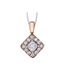 Maple Leaf Diamonds Rose Gold Maple Leaf (0.30ct) Canadian Diamond Square Halo Pendant
