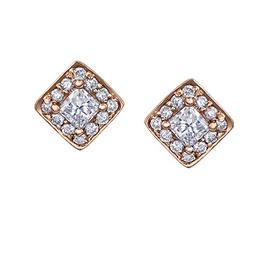 Maple Leaf Diamonds Rose Gold Square Halo (0.30ct) Canadian Maple Leaf Diamond Stud Earrings