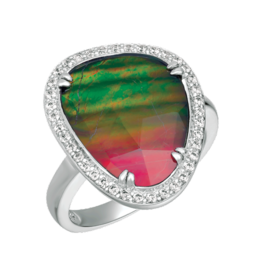 Korite Korite Freeform Ammolite Ladies Sterling Silver Swarovski Ring