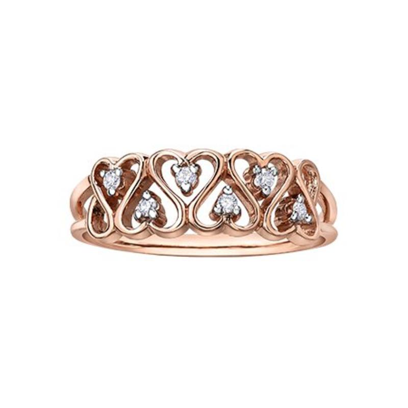 Rose Gold Diamond Heart Ring (0.06ct)