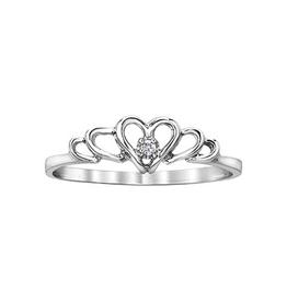 10K White Gold (0.01ct) Diamond Heart Promise Ring