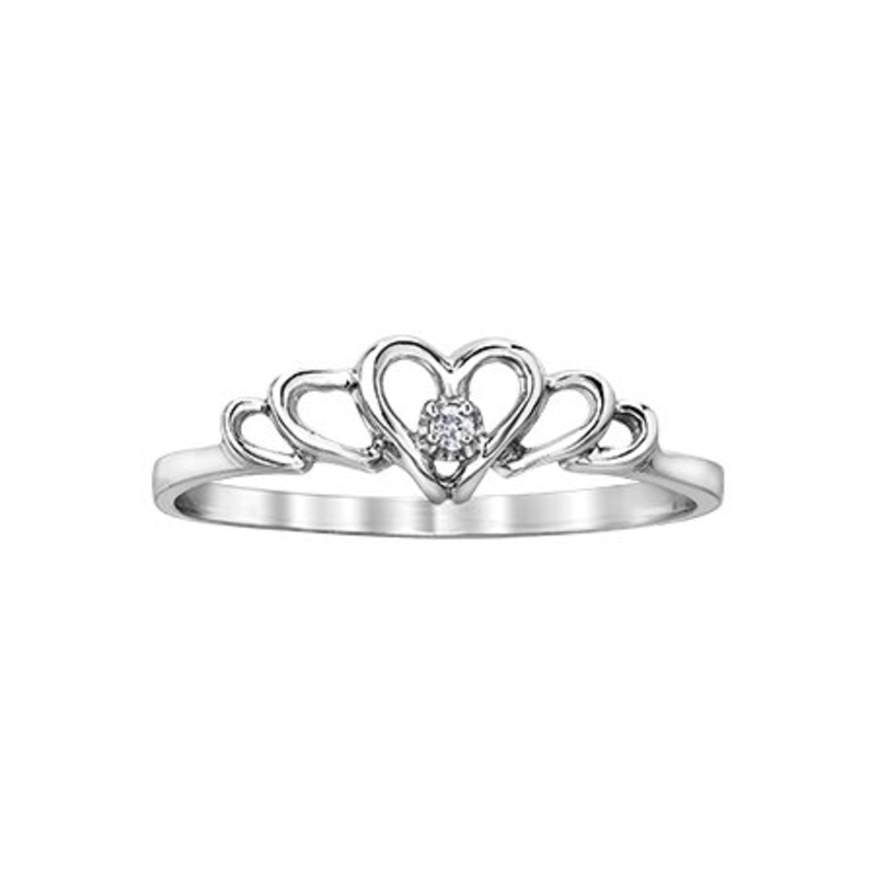 White Gold Diamond Heart Ring (0.01ct)