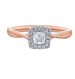 I am Canadian I Am Canadian Princess Cut Halo Rose Gold Canadian Diamond Ring (0.20cttw)