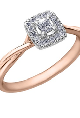 I am Canadian 10K Rose Gold (0.20ct) Princess Cut Halo Canadian Diamond Ring