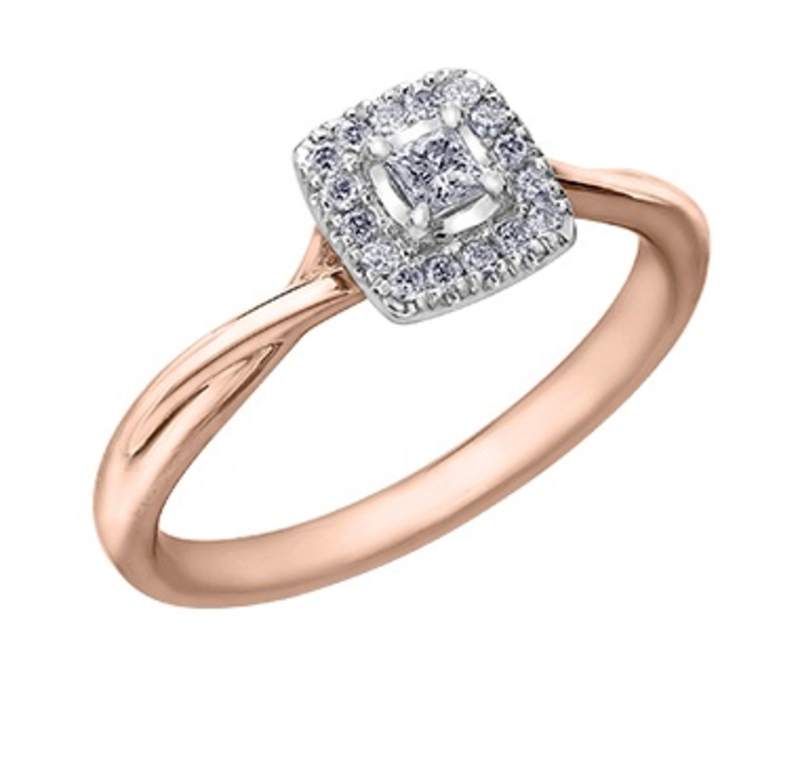 I am Canadian 10K Rose Gold (0.20ct) Princess Cut Canadian Diamond Halo Engagement Ring