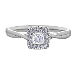 I am Canadian 10K White Gold (0.20ct) Princess Cut Canadian Diamond Halo Engagement Ring