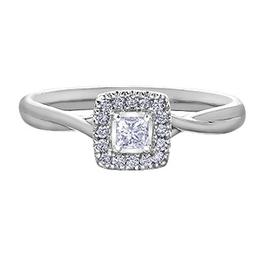 I am Canadian 10K White Gold (0.20ct) Princess Cut Canadian Diamond Halo Engagement Ring