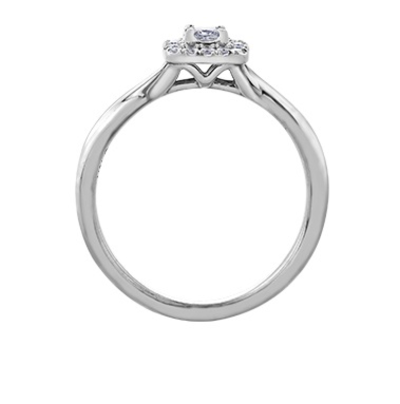 I am Canadian 10K White Gold (0.20ct) Princess Cut Halo Canadian Diamond Ring