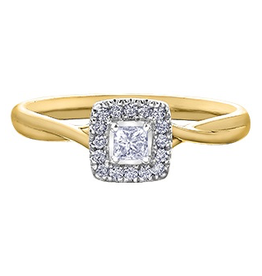 I am Canadian I Am Canadian Princess Cut Halo Yellow Gold Canadian Diamond Ring (0.20cttw)
