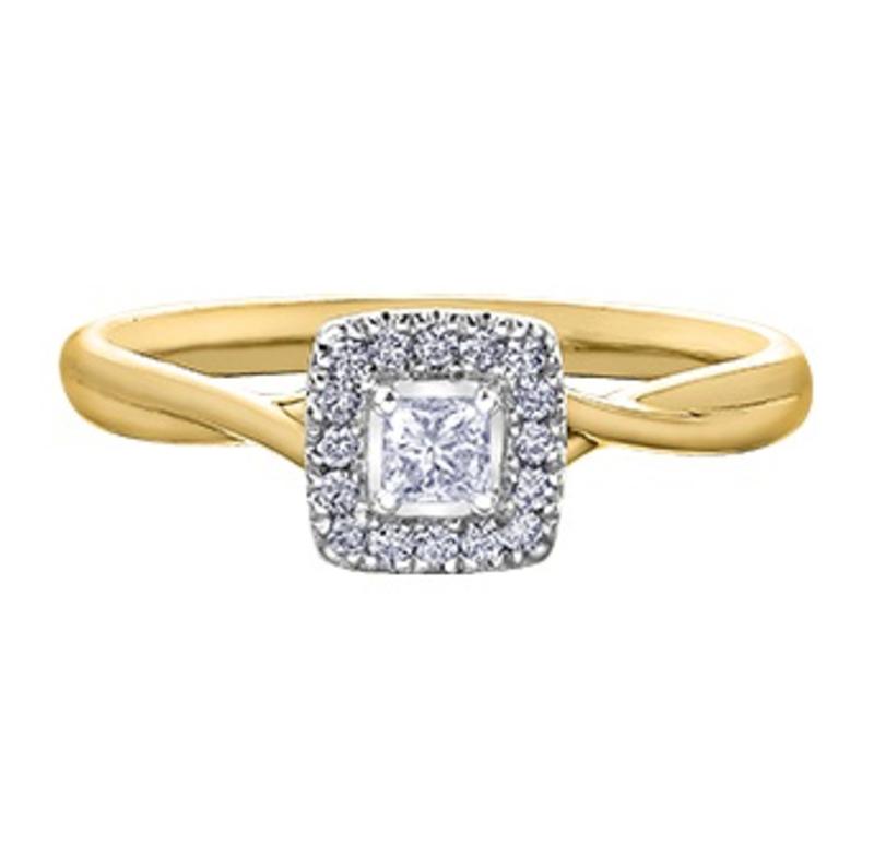 I am Canadian 10K Yellow Gold (0.20ct) Princess Cut Canadian Diamond Halo Engagement Ring