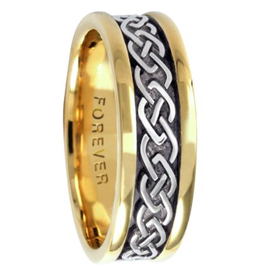Celtic Link Mens Two Tone Gold Wedding Band