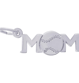 Nuco Silver Rhodium Plated MOM Baseball Charm Pendant