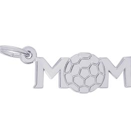 Nuco Silver Rhodium Plated MOM Soccer Charm Pendant