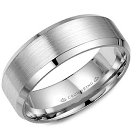Crown Ring Crown Ring White Gold Beveled 8mm Men's Wedding Band