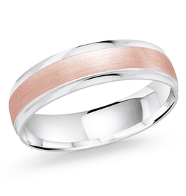 Malo Bevelled White and Rose Gold Band (10K)