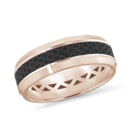 Mardini Mardini Carbon Fiber & Rose Gold Mens Band