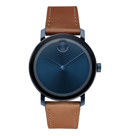 Movado Movado Bold Evolution Watch with Blue Sunray Dial and Cognac Strap