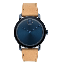 Movado Movado Bold Evolution Watch with Blue Sunray Dial and Beige Strap