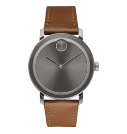 Movado Movado Bold Evolution Watch with Gunmetal Dial and Cognac Strap