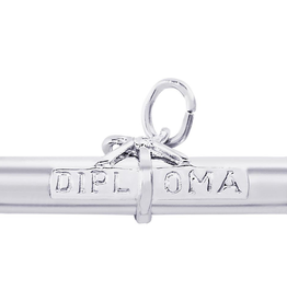 Nuco Silver Rhodium Plated Diploma Charm Pendant