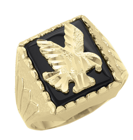 Yellow Gold Black Onyx Flying Eagle Ring