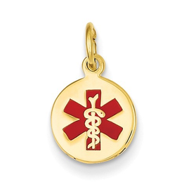 10MM Yellow Gold Red Enamel Medical Pendant