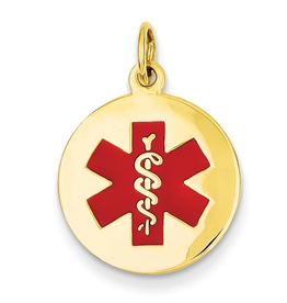 14K Yellow Gold (16mm) Medical ID Pendant
