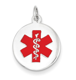 White Gold Medical ID Pendant (16mm)