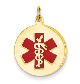 14K Yellow Gold (19mm) Medical ID Pendant