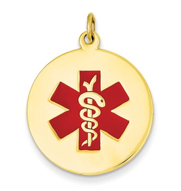Yellow Gold Medical ID Pendant (22mm)