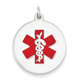 White Gold Medical ID Pendant (22mm)