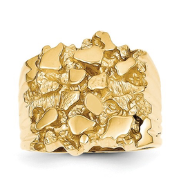 10K Yellow Gold Mens's Nugget Ring