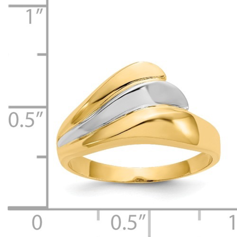 Yellow and White Gold Polished Wave Ring