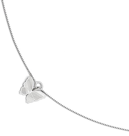 "Polished and Textured Butterfly Anklet (9-10"")"