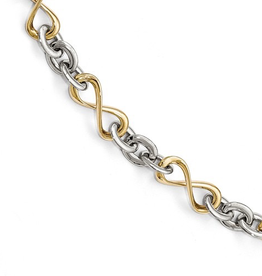 Yellow and White Gold Polished Infinity Link Bracelet