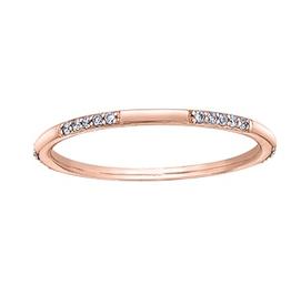 10K Rose Gold (0.10ct) Diamond Stackable Wedding Band