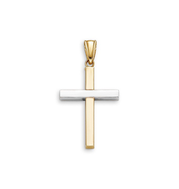Yellow and White Gold Plain Cross Pendant