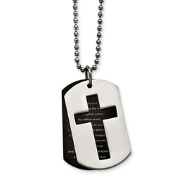 Stainless Steel Polished Black IP-Plated Lord's Prayer Necklace
